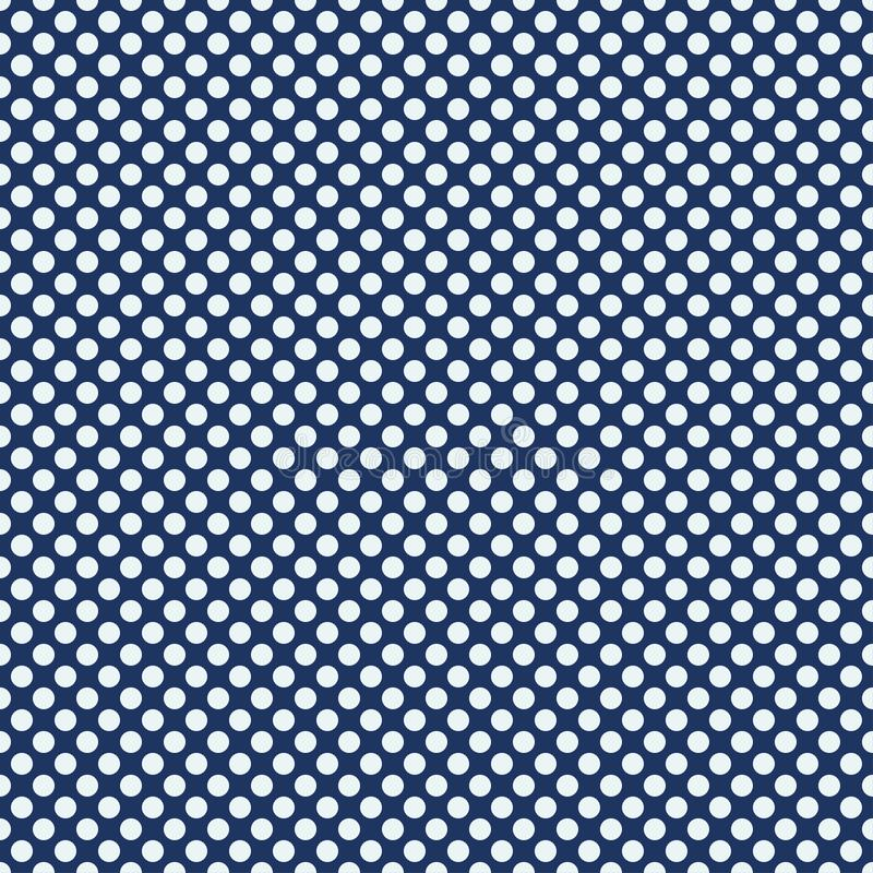 Polki kropki bezszwowy wzór Biel okręgi na błękitnym tle Tekstura dla szkockiej kraty, tablecloths, odziewa również zwrócić corel ilustracja wektor