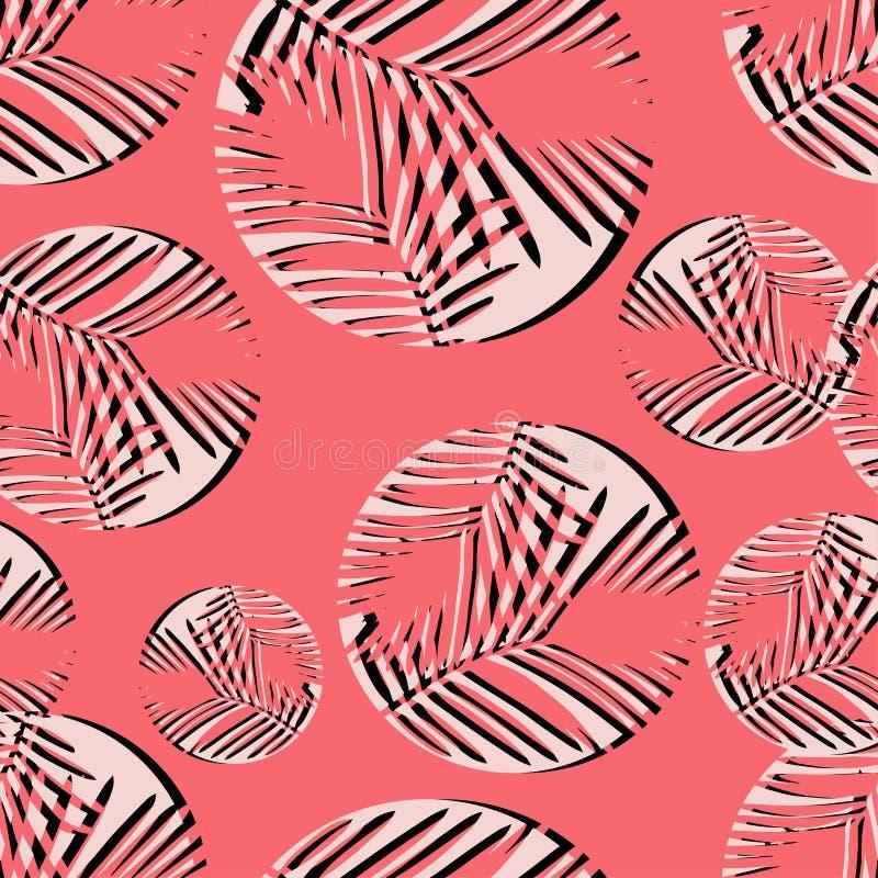 Polki kropki bezszwowy wzór halftones Tekstura palmowi liście royalty ilustracja