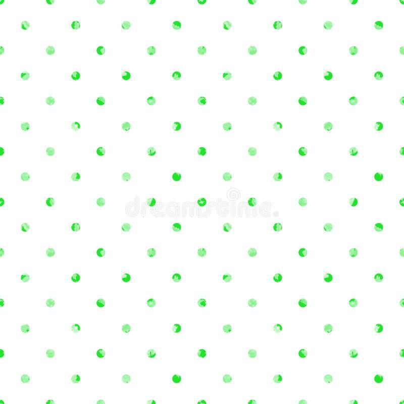 Polki kropki bezszwowy wz?r Biały tło z zielonymi grunge plamami ilustracji