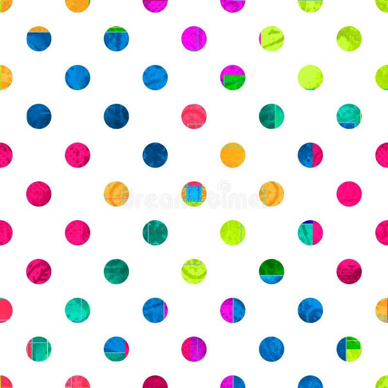 Polki kropki bezszwowy wz?r Kolorowy różny okręgu ornament ilustracja wektor