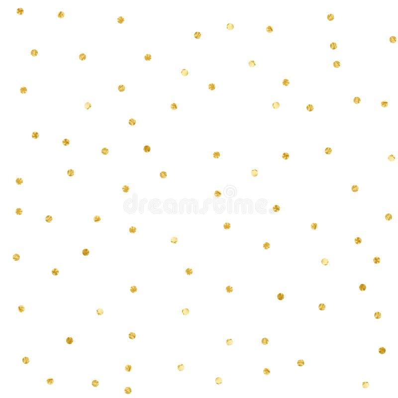 Polki kropki confetti Złoto textured kropki odizolowywać zdjęcie royalty free