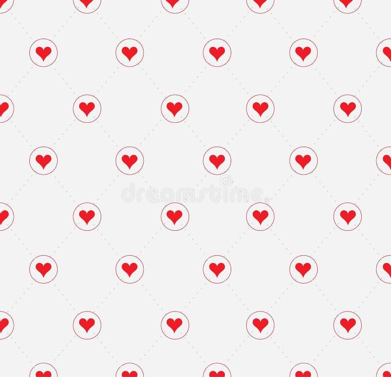 Polki kropki czerwieni wzór z sercami wektor ilustracja wektor