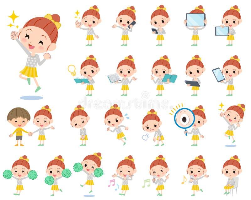 Polki kropki odzieżowa tasiemkowa dziewczyna 2 ilustracji