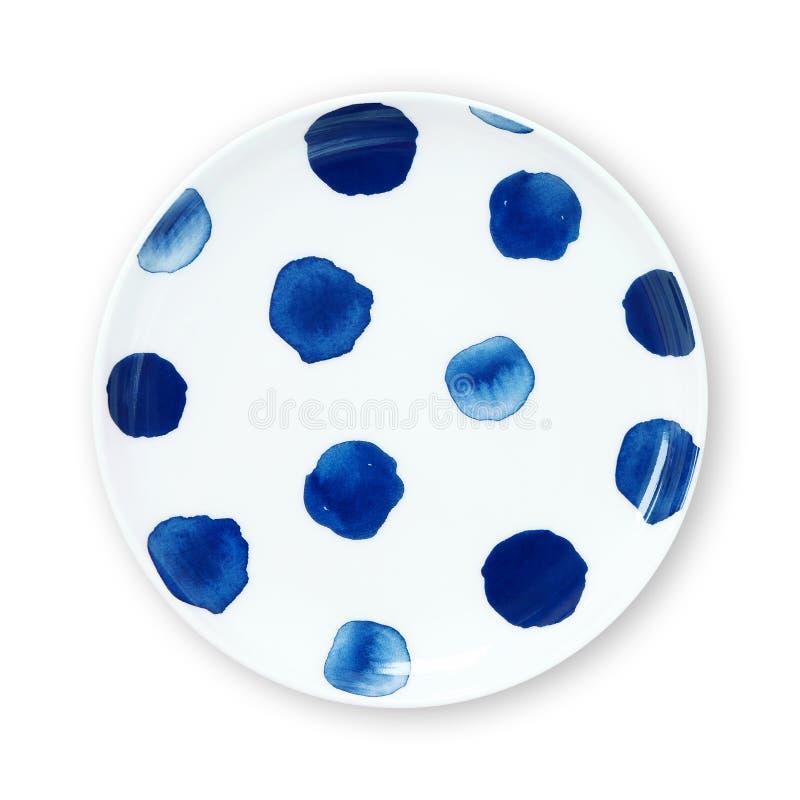 Polki kropki talerze, talerz z polki kropki wzoru akwareli stylem, widok odizolowywający na białym tle z ścinek ścieżką od above fotografia stock