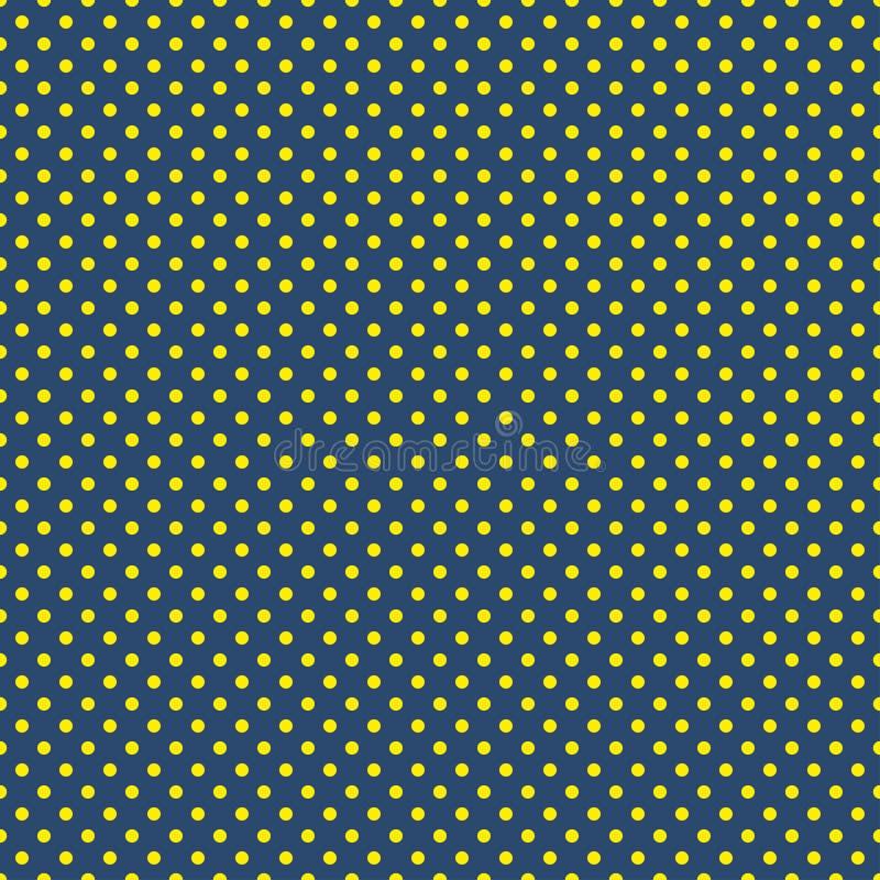Polki kropki wzór Bezszwowa wektorowa ilustracja z round okręgami, kropki niebieski kolor żółty ilustracja wektor