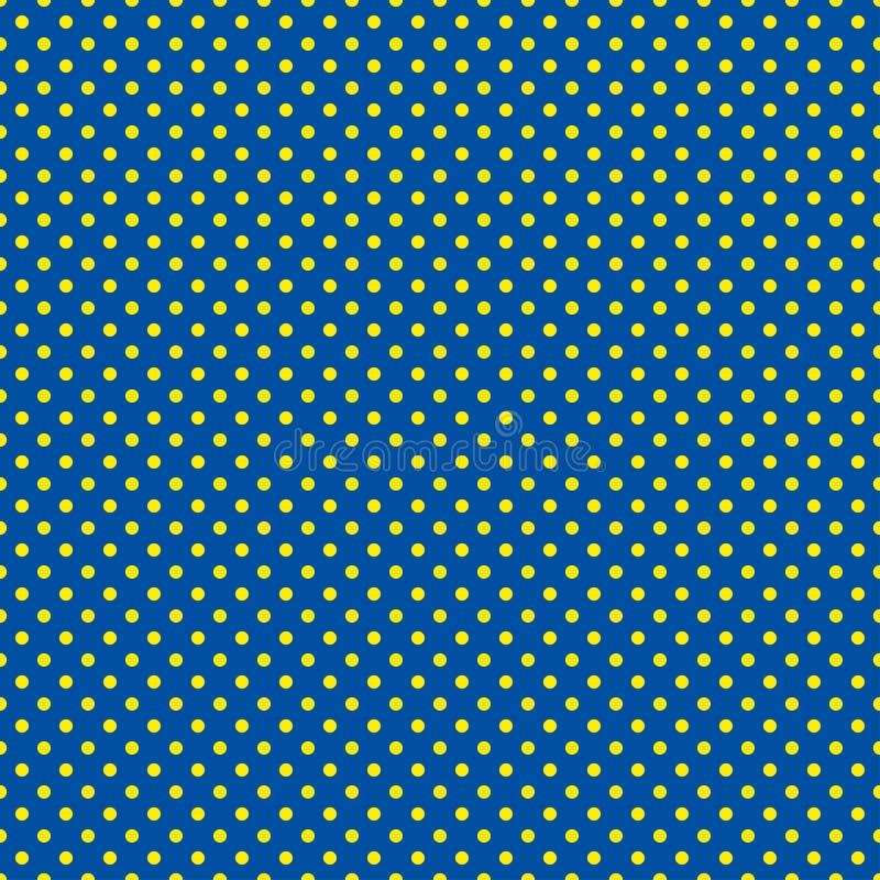 Polki kropki wzór Bezszwowa wektorowa ilustracja z round okręgami, kropki niebieski kolor żółty ilustracji