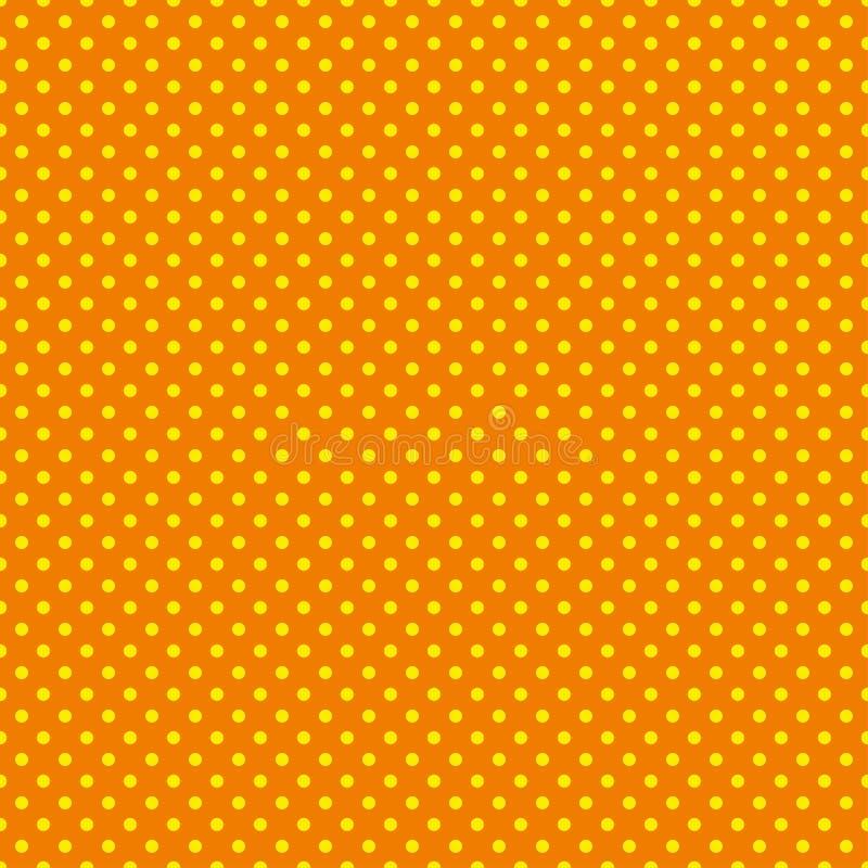 Polki kropki wzór Bezszwowa wektorowa ilustracja z round okręgami, kropki pomarańczowy żółty royalty ilustracja