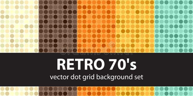 Polki kropki wzór ustalony Retro 70s Wektorowy bezszwowy geometryczny kropka b ilustracja wektor
