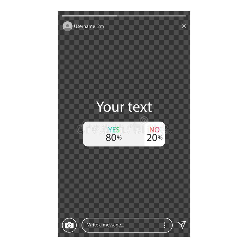 Poll in social media. Interface a poll. Template a poll in popular social media. The user started a poll. royalty free illustration