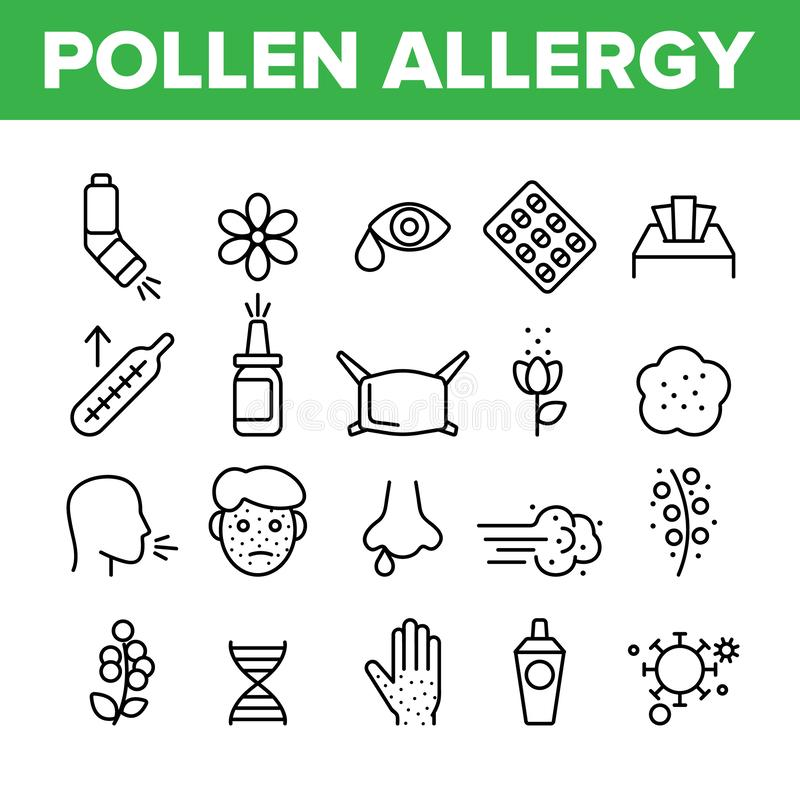 Pollen Allergy Symptoms Vector Linear Icons Set stock illustration