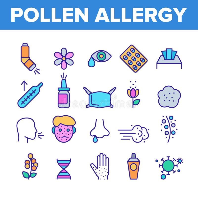 Pollen Allergy Symptoms Vector Linear Icons Set. Spring Seasonal Allergy, Respiratory Infection Outline Symbols Pack. Plants Allergic Reactions Isolated royalty free illustration