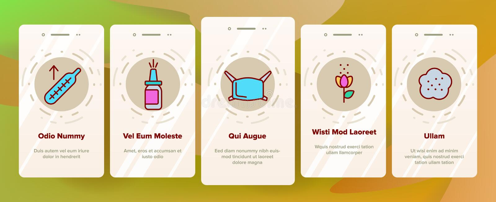 Pollen Allergy Symptoms Vector Onboarding. Mobile App Page Screen. Spring Seasonal Allergy, Respiratory Infection Outline Symbols Pack. Plants Allergic vector illustration