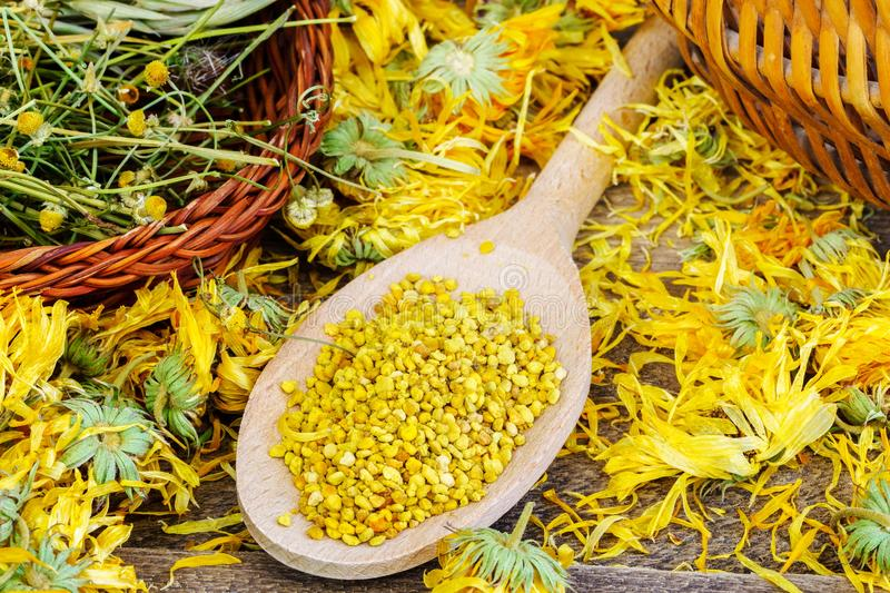 Pollen with dry chamomile and calendula around stock images