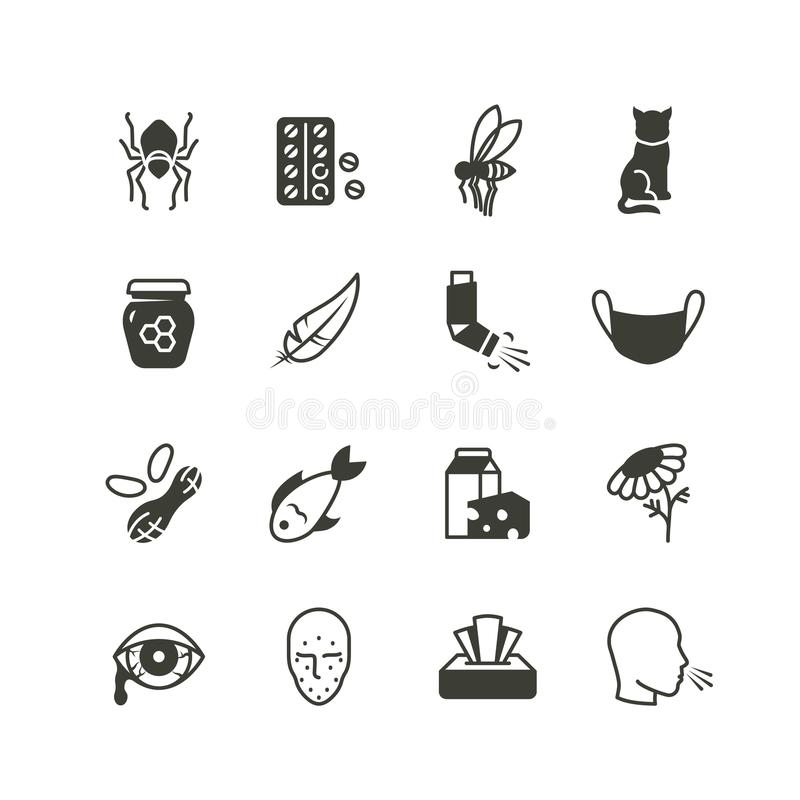 Pollen, dust, wheat and cat allergy and rhinitis icons set. Allergic and allergen vector medicine symbols isolated. Allergen dust and lactose, insect and nuts vector illustration
