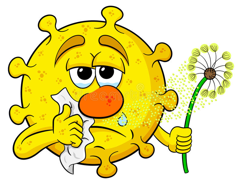 Pollen with hay fever. Vector illustration of a pollen with hay fever stock illustration