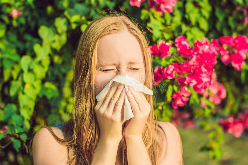 Pollenallergibegrepp Den unga kvinnan ska nysa Blomningträd i bakgrund fotografering för bildbyråer