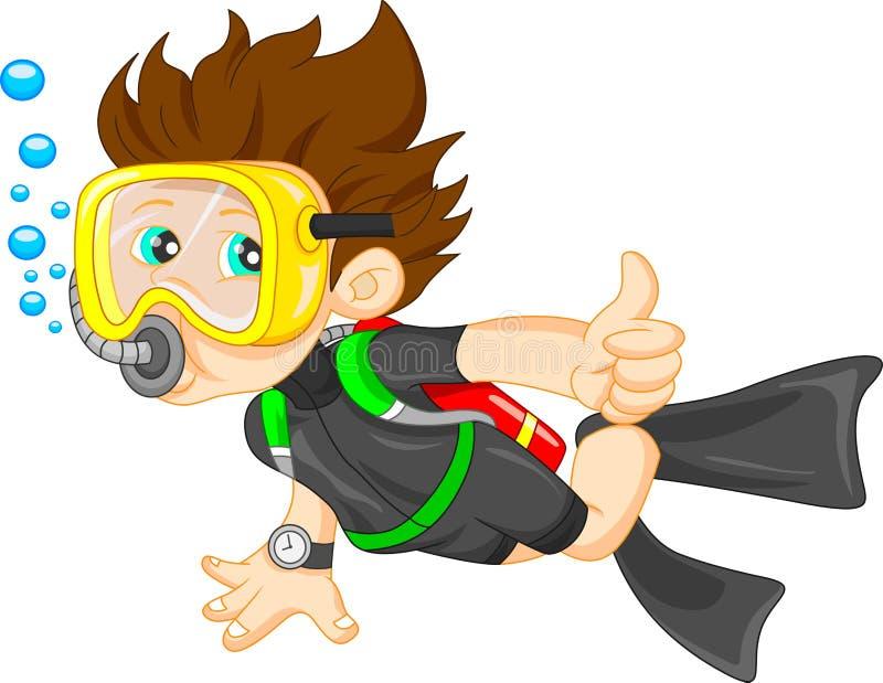 Pollice del ragazzo dell'operatore subacqueo su illustrazione vettoriale