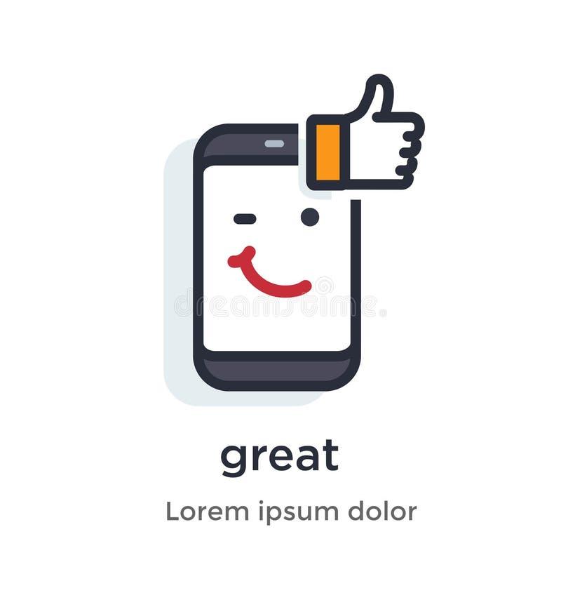 Pollice del telefono di emozione su, come, commento, approvazione, posta, grande, icona dell'illustrazione di divertimento royalty illustrazione gratis