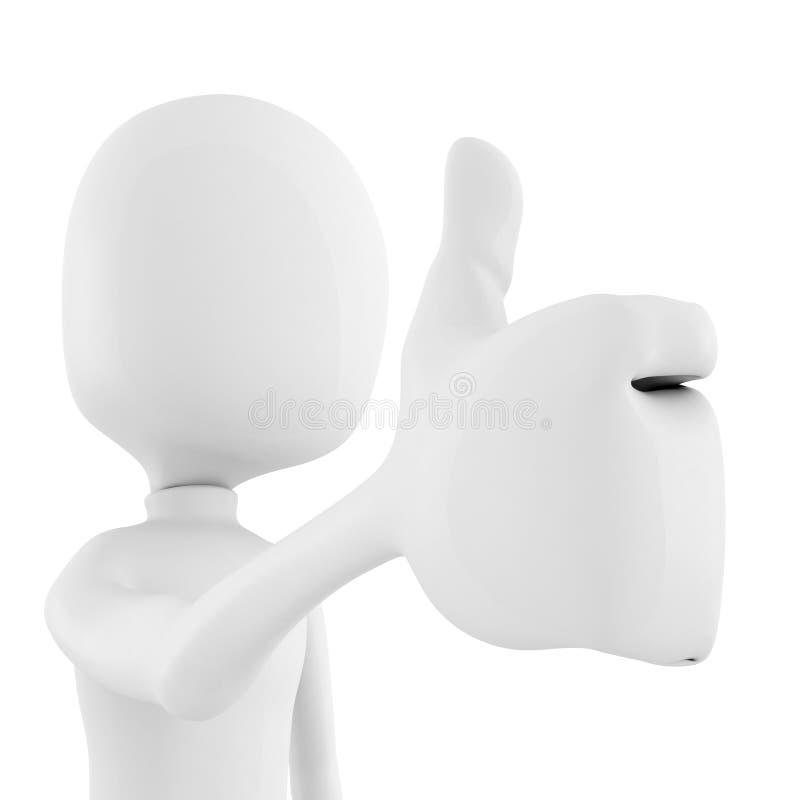 pollice dell'uomo 3d in su su priorità bassa bianca royalty illustrazione gratis