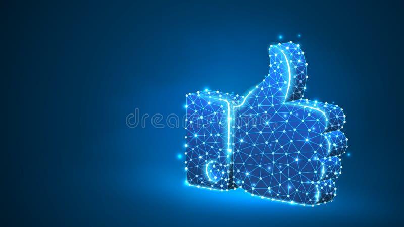 Pollice della mano su come il gesto Comunicazione commerciale, approvante, concetto di accordo Estratto, digitale, wireframe, min illustrazione vettoriale
