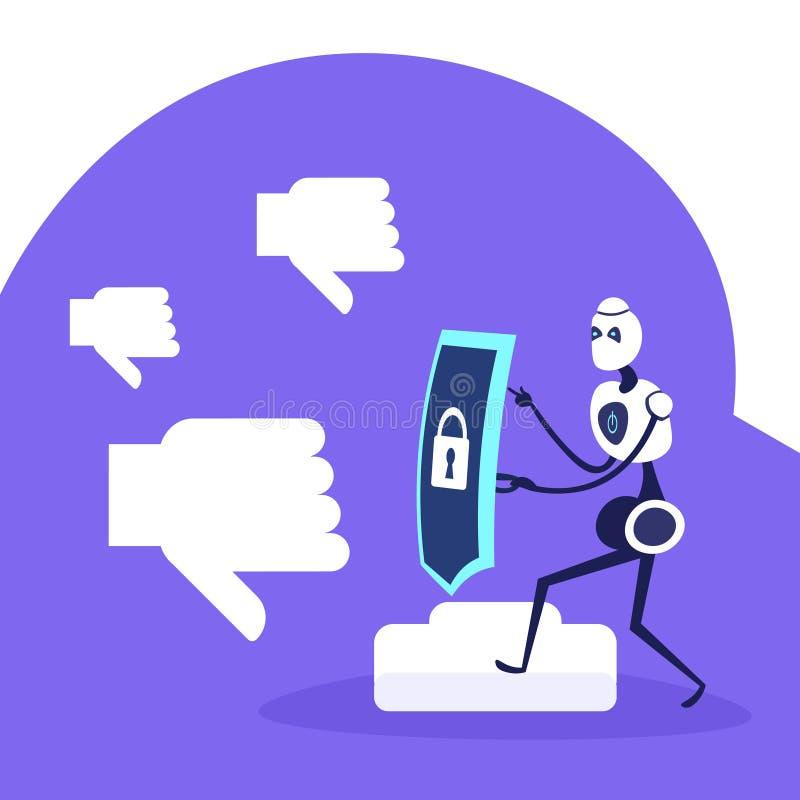 Pollice moderno dell'icona del lucchetto dello schermo della tenuta del robot giù reazione negativa nella protezione delle reti s illustrazione di stock