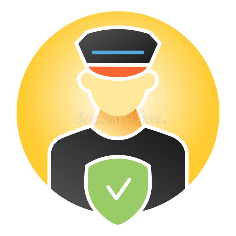 Pollice officer control flat icon. Policeman with check color icons in trendy flat style. Police security gradient style vector illustration