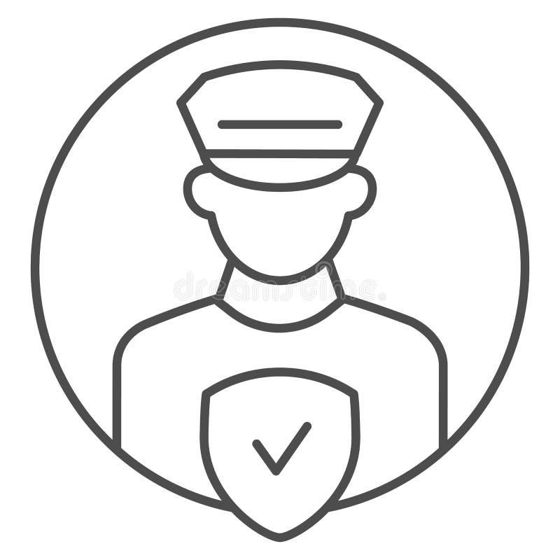 Pollice-Offiziersteuerdünne Linie Ikone Polizist mit der Kontrollvektorillustration lokalisiert auf Weiß Polizeisicherheit lizenzfreie abbildung