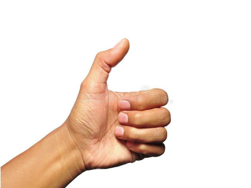Pollice sul gesto di mano su fondo bianco fotografia stock