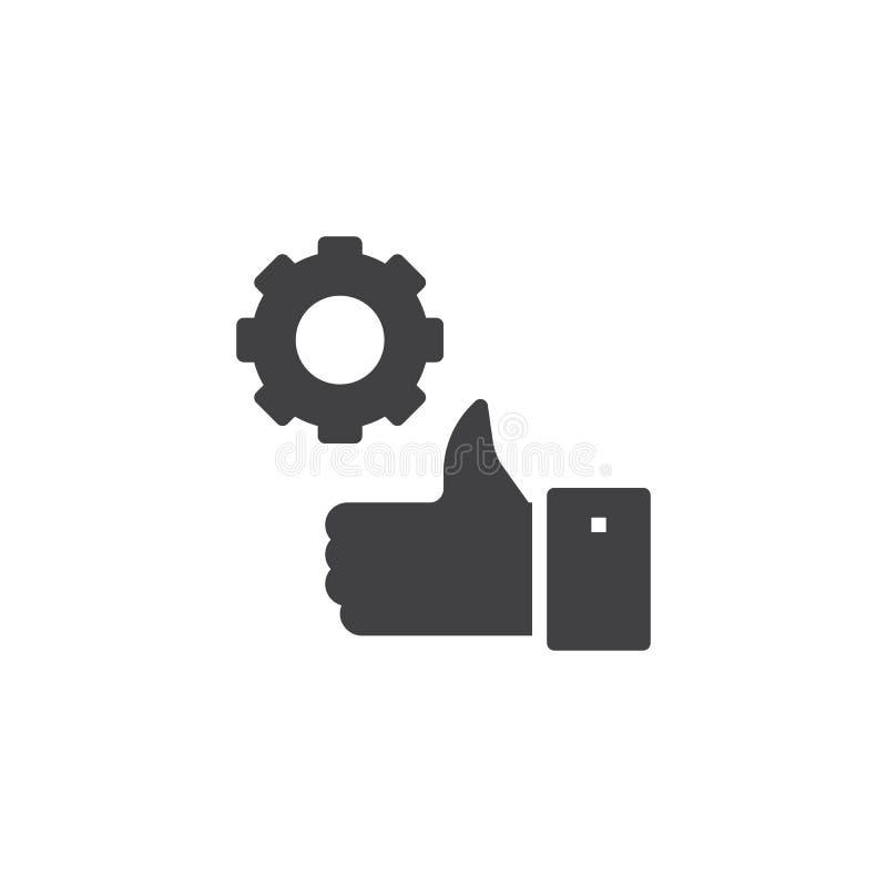 Pollice sull'icona di vettore dell'ingranaggio illustrazione di stock