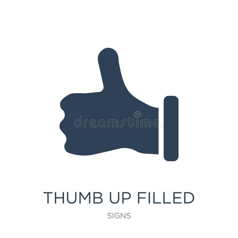 pollice sull'icona riempita di gesto nello stile d'avanguardia di progettazione pollice sull'icona riempita di gesto isolata su f royalty illustrazione gratis
