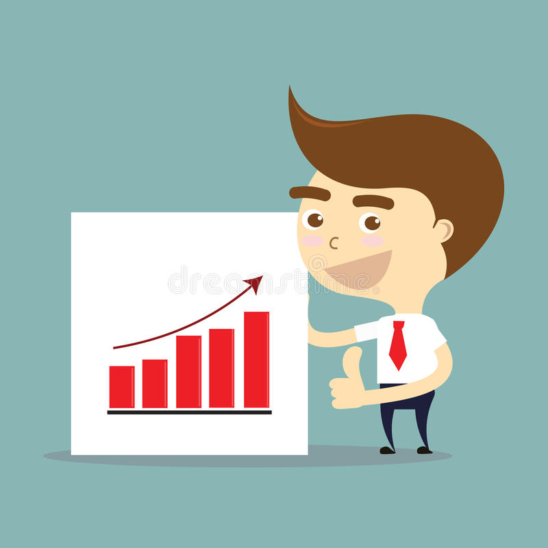 Pollici dell'uomo d'affari su con successo del vettore crescente del grafico illustrazione vettoriale