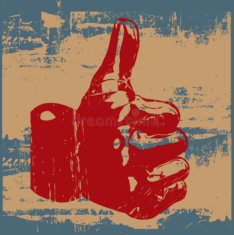 Pollici di Grunge in su illustrazione di stock
