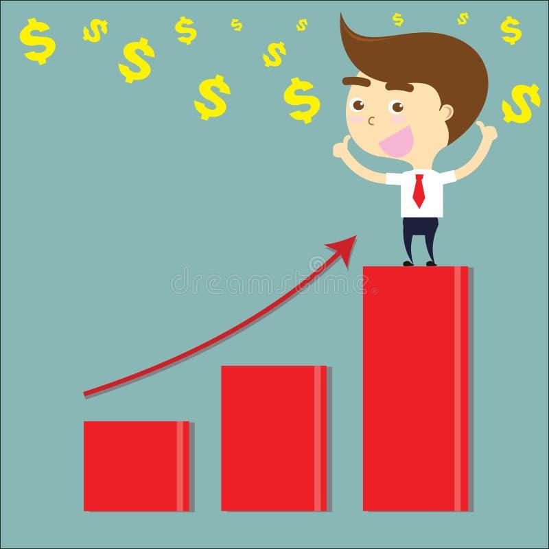 Pollici felici dell'uomo d'affari su sulla barra rossa del grafico con il simbolo di dollaro VE illustrazione vettoriale