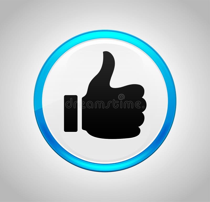 Pollici su come l'icona intorno al pulsante blu illustrazione di stock