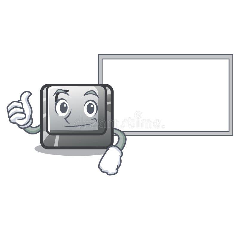 Pollici su con il bottone C del bordo su un carattere della tastiera illustrazione vettoriale