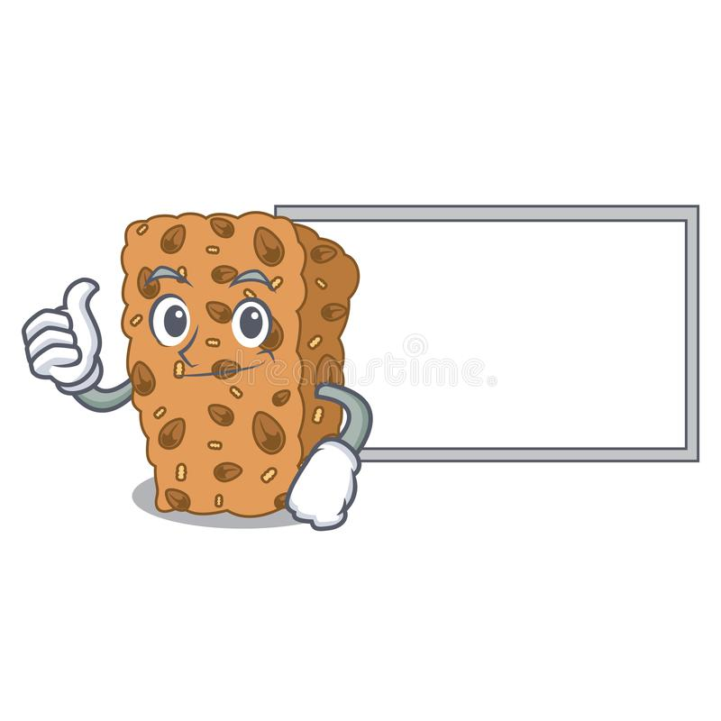 Pollici su con il fumetto del carattere della barra di granola del bordo illustrazione vettoriale