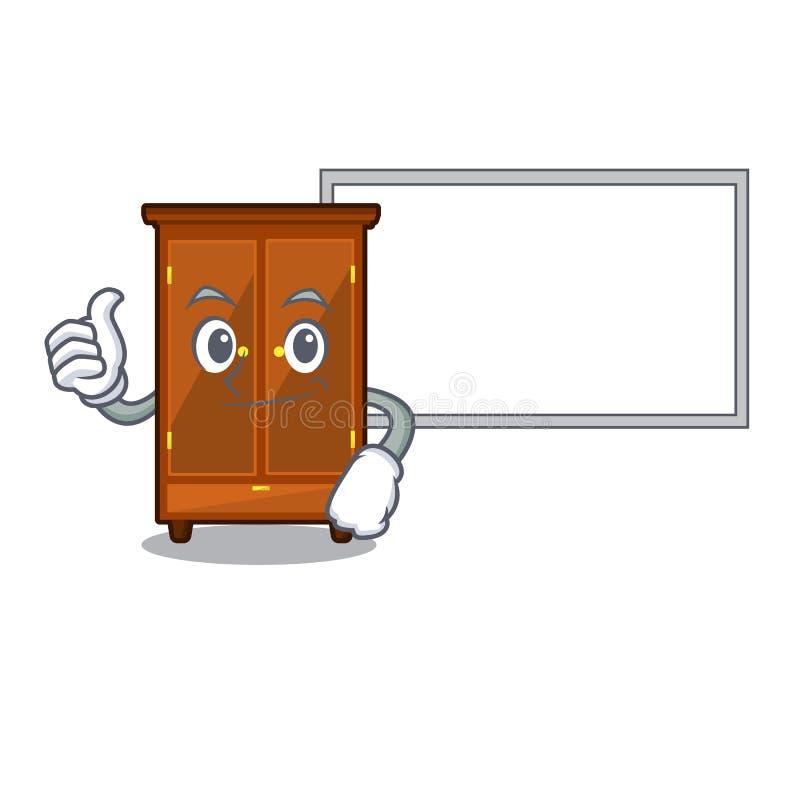 Pollici su con il guardaroba del bordo nella camera da letto della mascotte di a illustrazione di stock