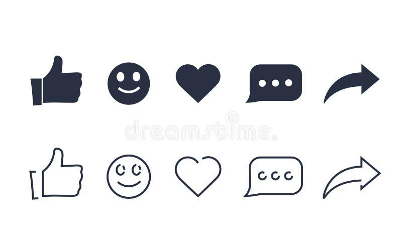 Pollici su e con le icone di commento e del repost su un fondo bianco icona sociale di media, reazioni comprensive di emoji royalty illustrazione gratis