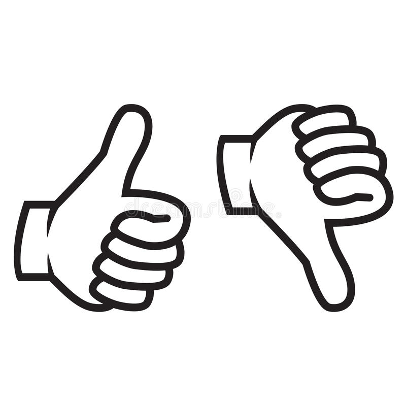 Pollici su e giù il gesto royalty illustrazione gratis