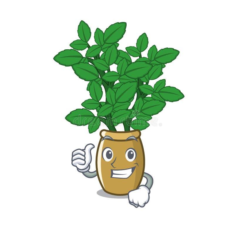 Pollici su melissa in un vaso della mascotte royalty illustrazione gratis