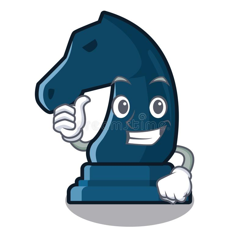 Pollici sul cavaliere di scacchi accanto alla tavola del fumetto illustrazione di stock