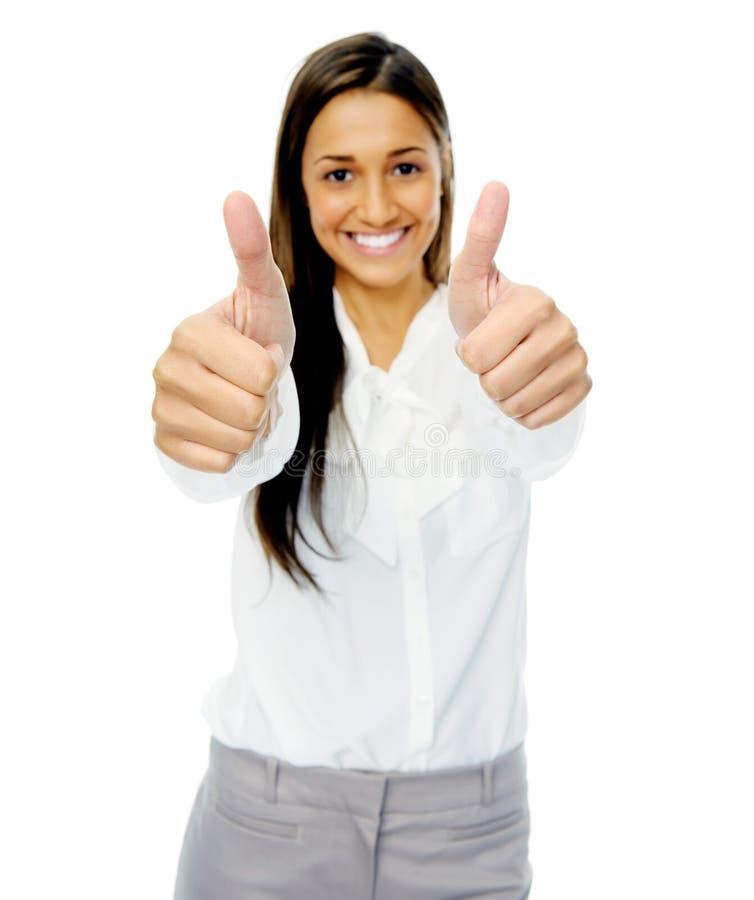 Pollici sul gesto positivo fotografia stock