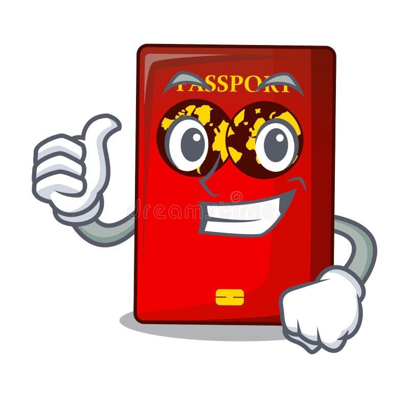 Pollici sul passaporto rosso nella borsa del fumetto royalty illustrazione gratis