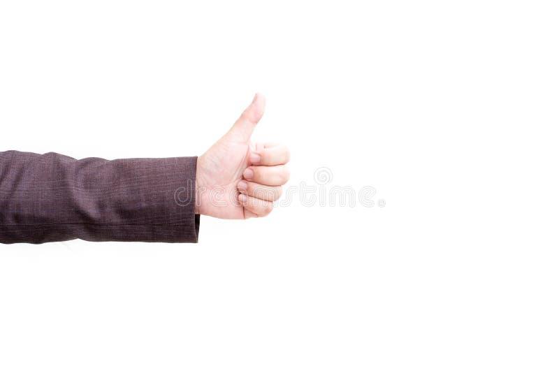 Pollici sul segno della mano su fondo isolato bianco Allegro e successo del concetto di affari Dito della mano della gente immagine stock libera da diritti