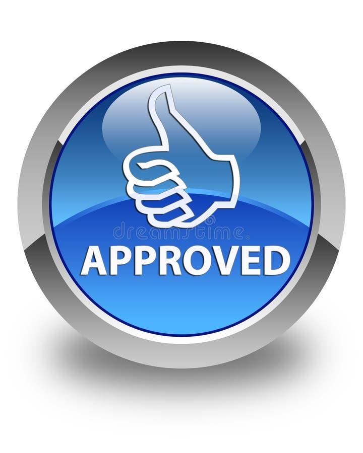(Pollici sull'icona) bottone rotondo blu lucido approvato royalty illustrazione gratis