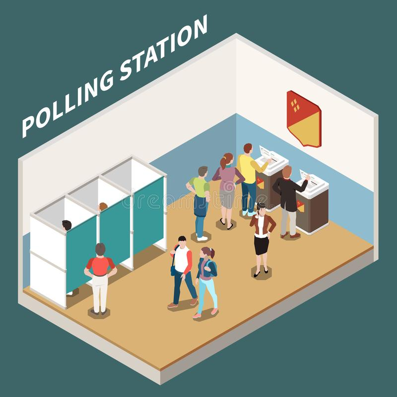 Polling Station Isometric Background vector illustration