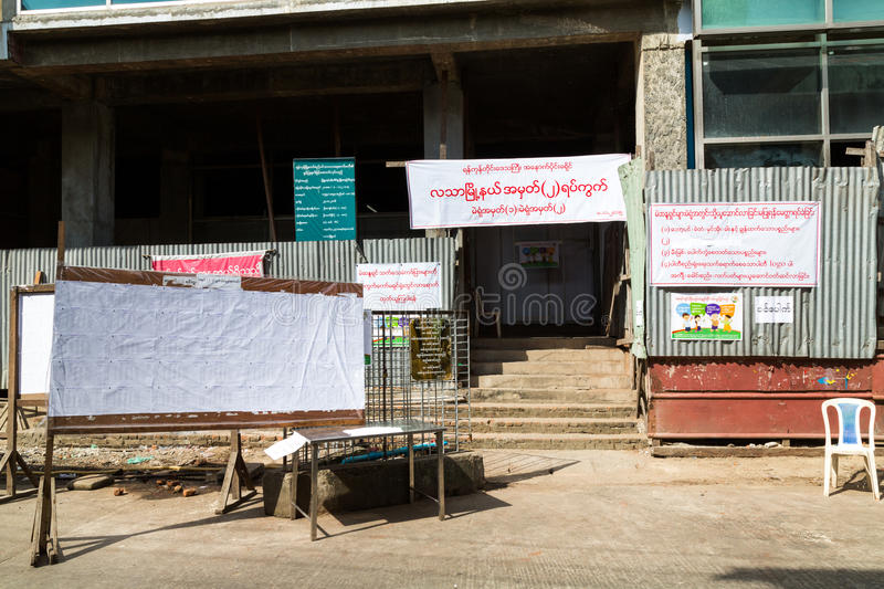 Polling station. In the Myanmar General election where Aung San Suu Kyi's NLD party won the majority stock images