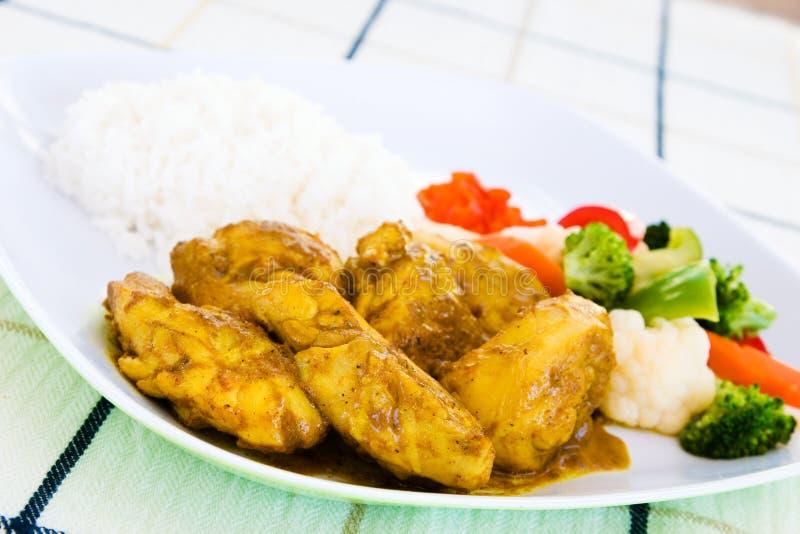 Pollo al curry con riso fotografia stock