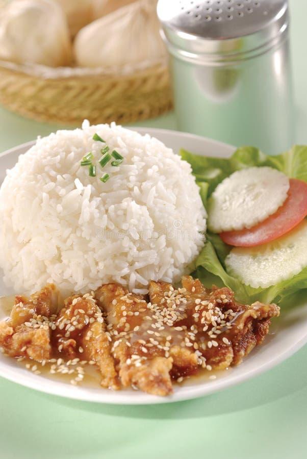 Pollo & riso del sesamo fotografia stock