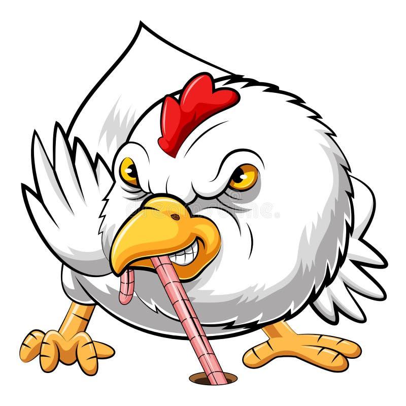 Pollo arrabbiato che mangia verme illustrazione vettoriale